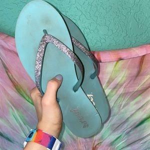 {Reef} sparkle teal flip flops